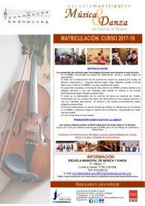 EMMD - Matriculación 2017/2018 @ Escuela Municipal de Música y Danza