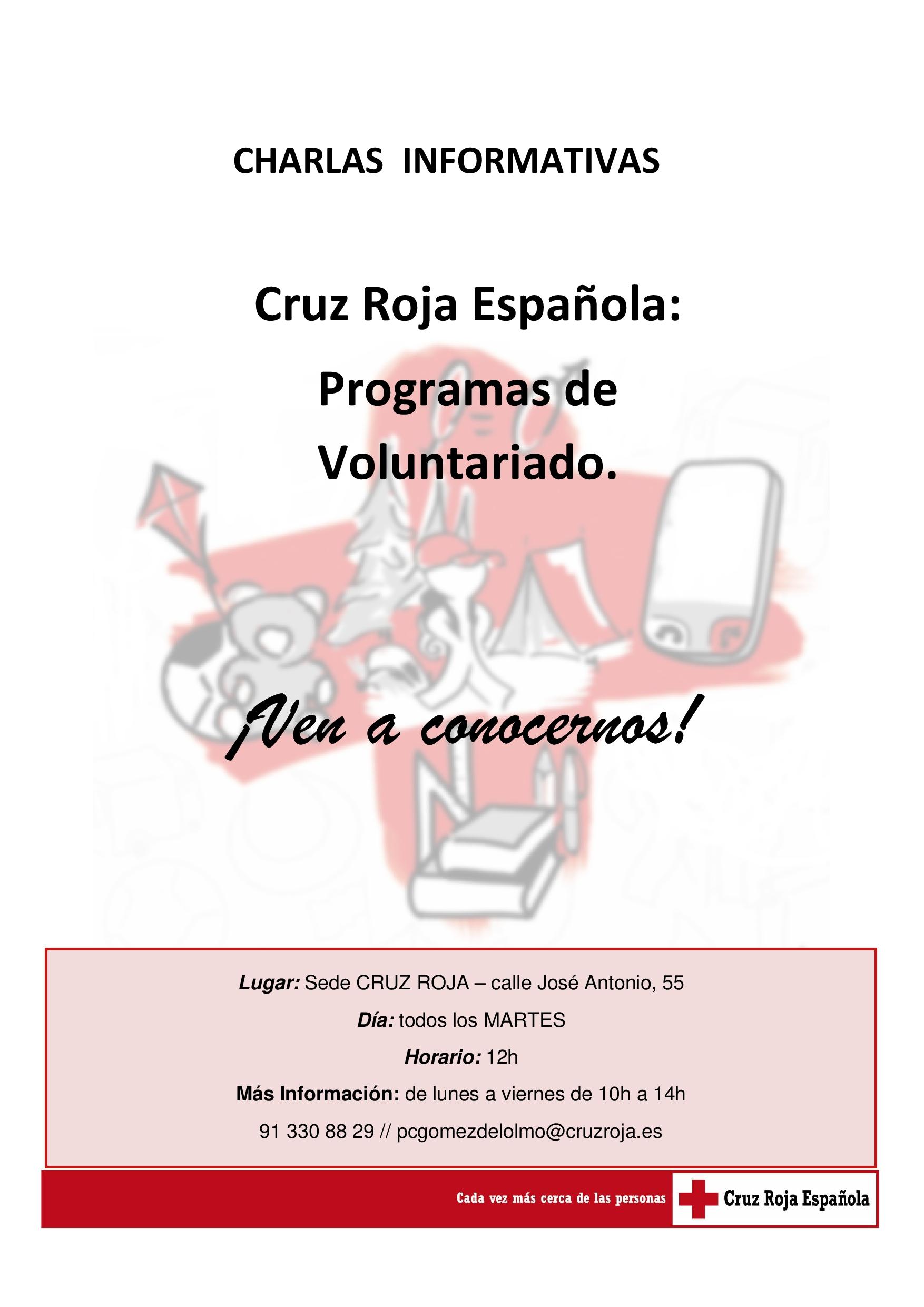 Charla informativa - Cruz Roja Española @ Sede Cruz Roja Sevilla la Nueva