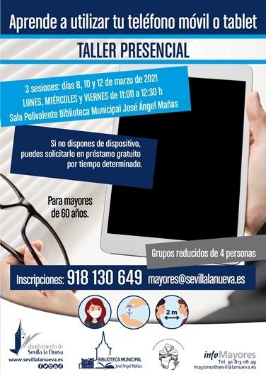 "Taller para mayores ""Aprende a utilizar tu teléfono móvil o tablet"" @ Sala Polivalente Biblioteca Municipal"