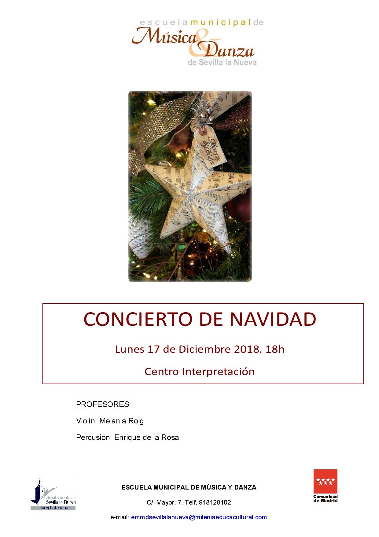 CONCIERTO DE NAVIDAD – Alumnos de violín y percusión de la EMMD @ Centro de Interpretación