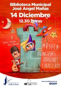Espectáculo Familiar. Música para princesas, dragones y caballeros. @ Biblioteca Municipal José Ángel Mañas