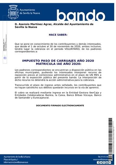 Fin plazo voluntario impuesto paso de carruajes e IAE 2020